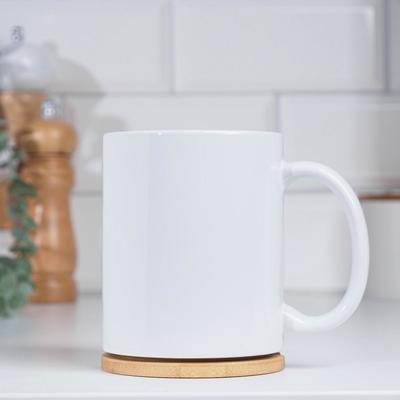 """Кружка """"PREMIUM"""", под сублимацию 320 мл, керамика, 335 гр, H=9,5 см, D=8,2 см, с логотипом - Фото 1"""