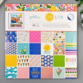 "Набор бумаги для скрапбукинга Pebbles - Коллекция ""Sun and Fun"" - 30.5х30.5 см"