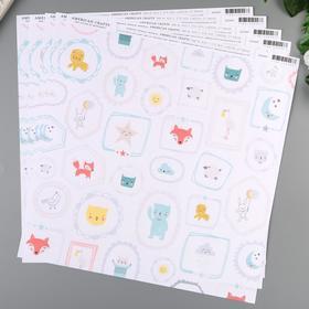 """Бумага для скрапбукинга American Crafts """"Sweet Boy"""" 30.5х30.5 см, 190 гр/м2"""