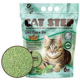 Наполнитель для кошачьих туалетов Cat Step Tofu Green Tea 6L, растительный комкующийся Ош