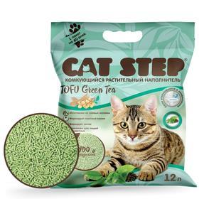 Наполнитель для кошачьих туалетов Cat Step Tofu Green Tea 12L, растительный комкующийся Ош