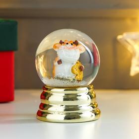 Сувенир полистоун водяной шар 'Коровка-улыбака с долларами/евро' d=4,5 см МИКС 6х4,5х4,5 см   481219 Ош