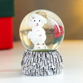 Сувенир полистоун водяной шар 'Медвежонок в новогоднем колпаке' d=4,5 см 6х4,5х4,5 см Ош