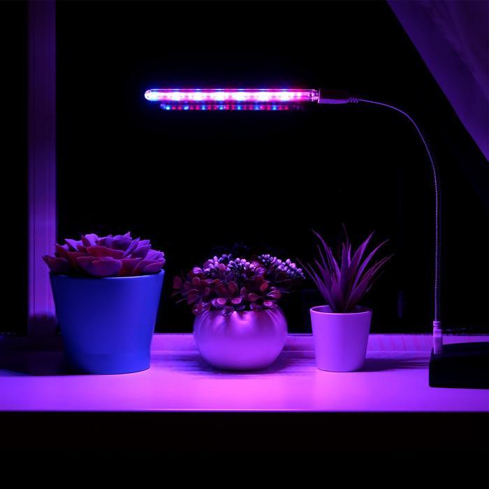 Светильник мини, для растений, от USB, 3 Вт, в комплекте переходник на гибкой ножке