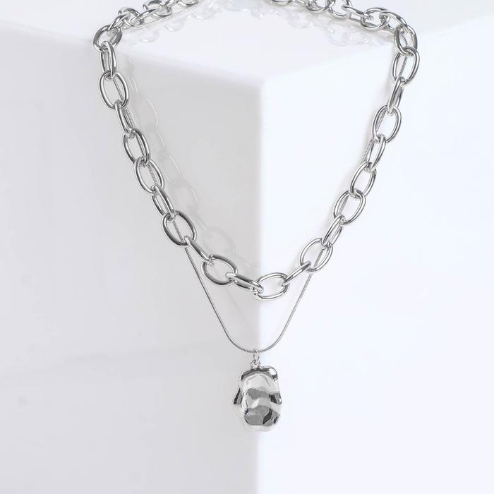 Кулон Цепь мятый амулет, цвет серебро , длина 45см