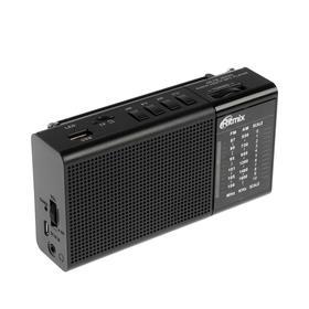 Радиоприёмник Ritmix RPR-155, FM/AM 87–108 МГц, MP3, USB, microSD, аккумулятор, черный Ош