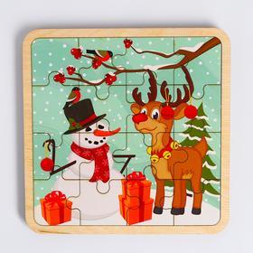Пазл - вкладыш в рамке «Олень и снеговик» 16×16 см