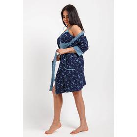 Комплект женский (сорочка, халат), цвет фиолетовый/синий, размер 44