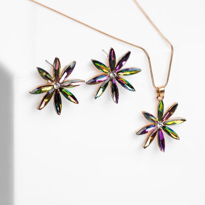 """Гарнитур 2 предмета: серьги, кулон """"Цветы"""" восход, цвет бензиновый в золоте, 45 см"""