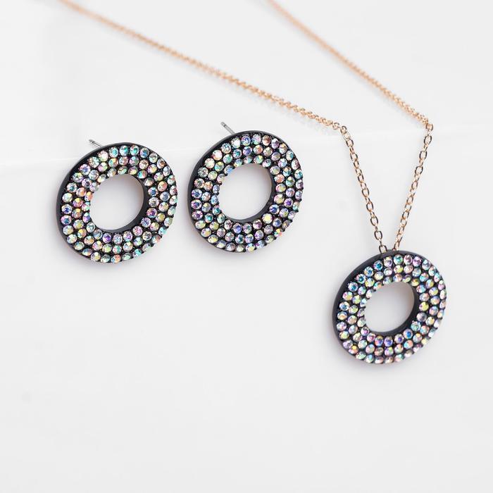"""Гарнитур 2 предмета: серьги, кулон """"Рондо"""" круги, цвет радужно-чёрный, 45 см"""