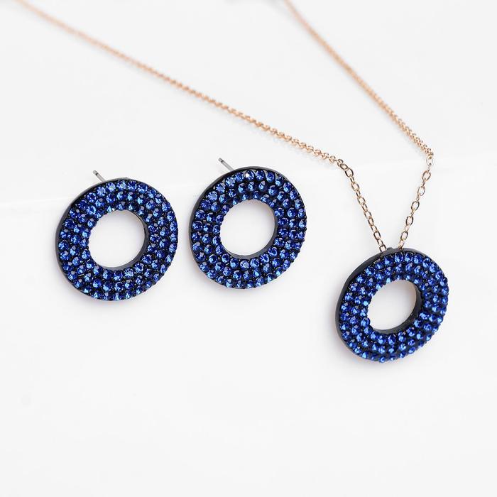 """Гарнитур 2 предмета: серьги, кулон """"Рондо"""" круги, цвет сине-чёрный, 45 см"""