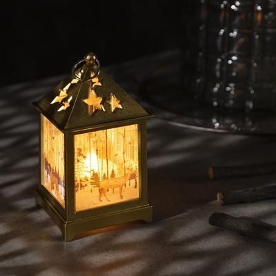 """Фигура светодиодная """"Фонарь цвет золото с 1 свечой, Олень в лесу"""", 13х6х6 см, 3хLR44,ТЁПЛОЕ БЕЛОЕ - Фото 1"""