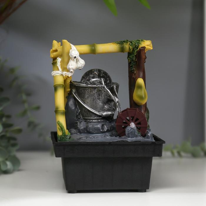 Фонтан настольный от сети Водяная мельница из бамбука 18х12х12 см