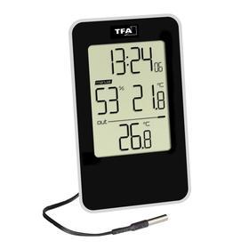 Термогигрометр TFA 30.5048.01, цифровой, комнатный, 1хААА, чёрный
