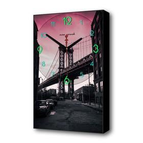 Часы настенные, серия: Город, 'Бруклинский мост', 1 АА, плавный ход, 37х60 см Ош