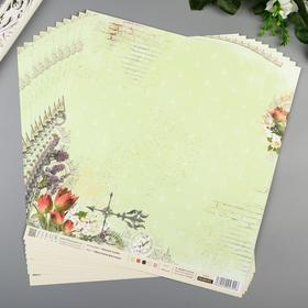 "Лист бумаги для скрапбукинга ""Цветочная фантазия"" 30х30 см, 190 гр/м2"