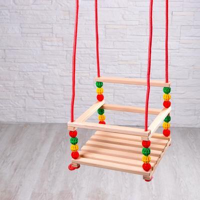 Качели детские, подвесные, деревянные - Фото 1