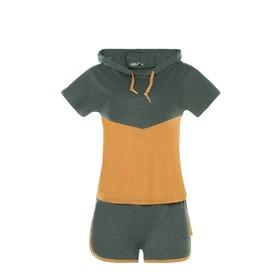 Комплект женский (футболка, шорты) «Даль» цвет хаки, размер 42