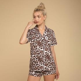 Костюм женский (рубашка, шорты) «Афродита», цвет коричневый/леопард, размер 52