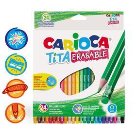 Карандаши пластиковые 24цв Carioca Tita Erasable 3.0 с ласт, шестигр, к/к 42938/24