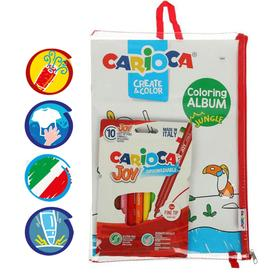 Набор для рисования CARIOCA Coloring Album JUNGLE & SEA, 6 фломастеров + 1 раскраска + чехол