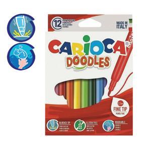 """Фломастеры 12 цветов Carioca """"Doodles"""" 2.2 мм, суперяркие, смываемые, картон, европодвес"""