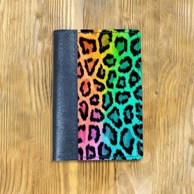 """Обложка на паспорт комбинированная """"Леопард"""", синяя"""