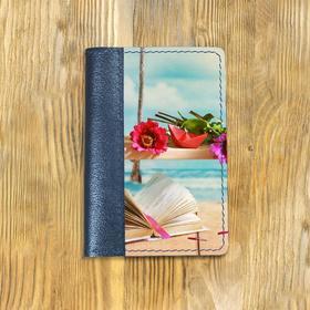 """Обложка на паспорт комбинированная """"Качель с книгой"""", синяя"""