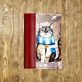 """Обложка на паспорт комбинированная """"Акварельный кот"""", красная"""