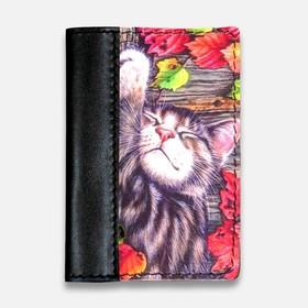 """Обложка на паспорт комбинированная """"Спящий кот"""", черная"""
