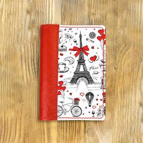 """Обложка на паспорт комбинированная """"Франция принт"""" красная, белая вставка"""