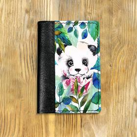 """Обложка на паспорт комбинированная """"Листья и панда"""" черная, белая вставка"""