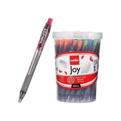 """Ручка шариковая автомат Cello """"JOY TINTED"""" узел 0.7 мм, в пластиковом стакане, чернила синие, МИКС - Фото 1"""