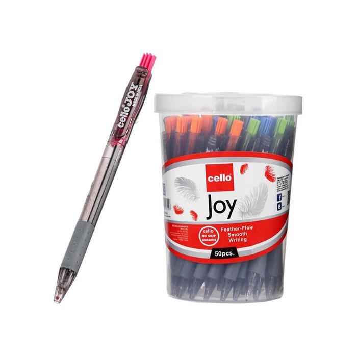 """Ручка шариковая автомат Cello """"JOY TINTED"""" узел 0.7 мм, в пластиковом стакане, чернила синие, МИКС"""