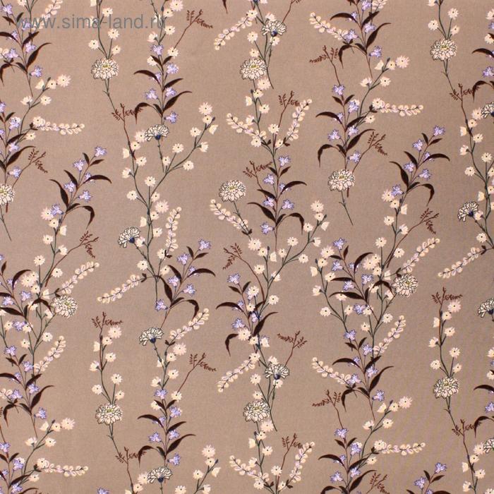 Ткань плательная, софт, набив, стрейч, ширина 150 см, цвет коричневый