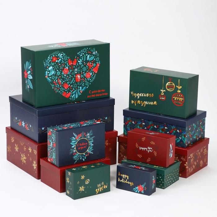 Набор коробок подарочных 12 в 1 «Ботаника», 18 х 11 х 6.5 см - 46,6 х 35,2 х 17.5 см