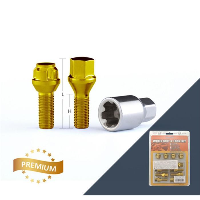 Болт M12x1,25, 52/27, hex17, конус, золотой, 12 шт, 4 секретки+ключ
