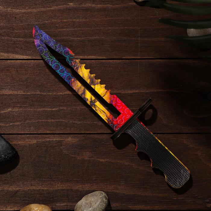 Сувенирное оружие из дерева «Штык нож», сиренево- жёлтое лезвие