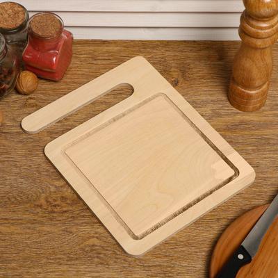 """Доска разделочная деревянная """"Прямоугольник для подачи с бокалами"""", 24×19×0.6 см"""