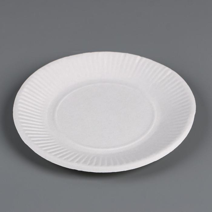 Тарелка картонная d 170 мм Белая