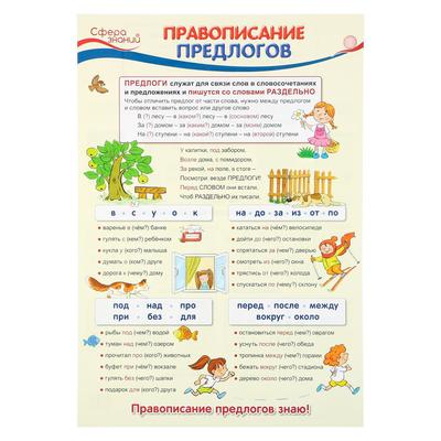 """Плакат """"Правописание предлогов"""" А3"""
