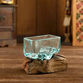 """Вазон стекло на коряге """"Берег"""" 10х20х12 см"""