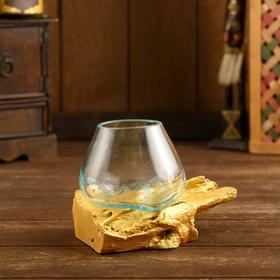 "Вазон стекло на коряге ""Золото"" 12х12х10 см"