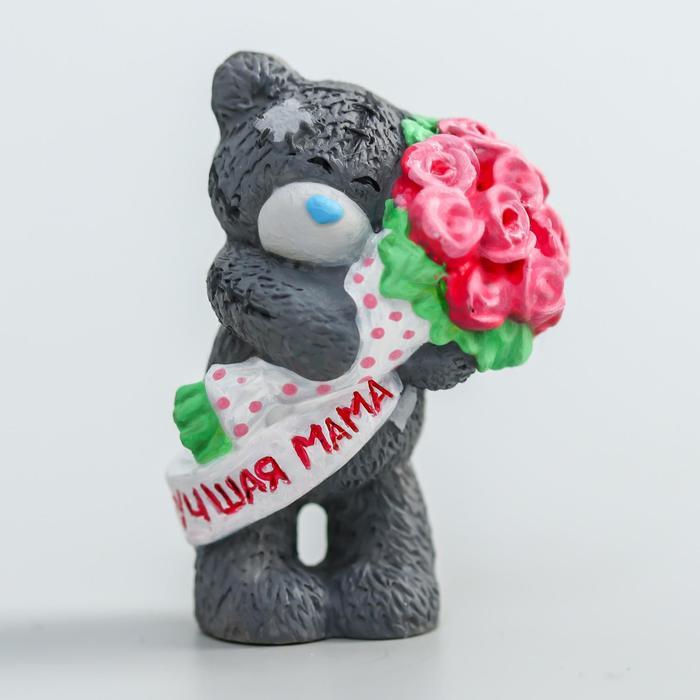 Сувенир полистоун Медвежонок Me to you с букетом розовых роз - Лучшая мама 4,5 см