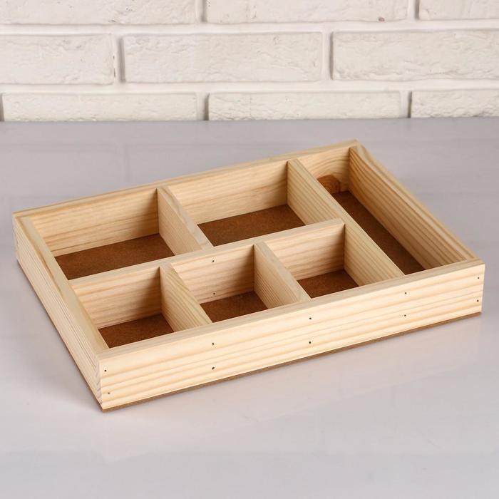 """Кашпо деревянное 35.5×25.5×5 см """"Ящик Шкатулка"""", 6 отделов, МАССИВ"""
