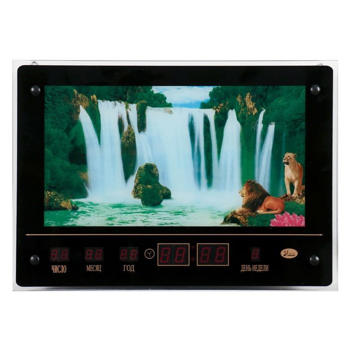 Картина с подсветкой, звуками водопада и информационным календарем Водопад со львами 4633см 6