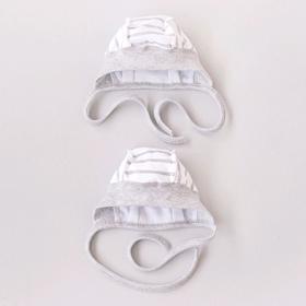 Чепчик на широкой резинке «Звёзды меланж, полоса», рост 56-62 см, 2 шт в уп.