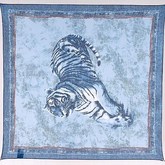 Платок женский, размер 53х53, цвет синий