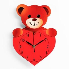 Часы настенные 'Медвежонок с сердечком', 27х19 см,  плавный ход, стрелки микс Ош