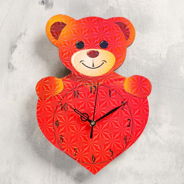 Часы настенные Медвежонок с сердечком, 27х19 см, плавный ход, стрелки микс